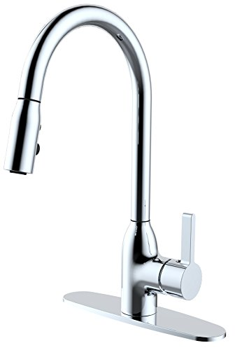 FixtureDisplays Single Handle Pull Down Kitchen Faucet Brushed Nickel 16083!