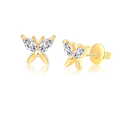 Butterfly Fashion Jewelry - Butterfly Earrings Gold for Women Hypoallergenic Teens Little Girls Children Stainless Steel for Sensitive Ears Nickel Free Jewelry Birthday Gift