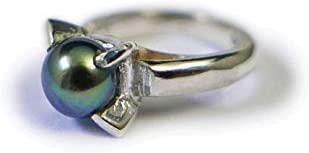 【バリ島より無料でお届け】[Silver925]Rainbow Spirit ブラックパール(黒真珠)のシルバーベビーリング(6月の誕生石のチャーム)