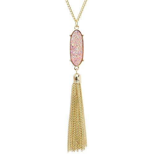 KISSPAT Tassel Druzy Pendant Necklace Gold Tone Long Chain Statement Jewelry for ()