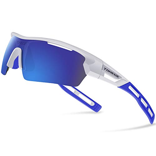 Torege Polarized Sports Sunglasses for Men Women Cycling Running Driving TR033(White&blue tips&Blue lens)