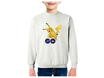 Pikachu go Sudadera Infantil algodón - Talla XS, Blanco: Amazon.es: Ropa y accesorios