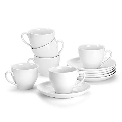 MIWARE 5 Ounce Porcelain Coffee Cups and Saucers - 6Packs, Espresso Cup and Saucer Set, White