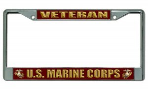 U.S. Marine Corps Veteran Chrome License Plate - Frame License Marines Plate