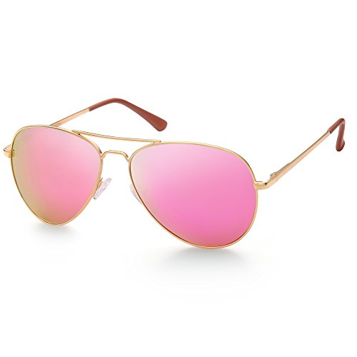 Polarized Aviator Sunglasses for Women, Pink Mirrored Lens, Gold Metal Frame, 58mm