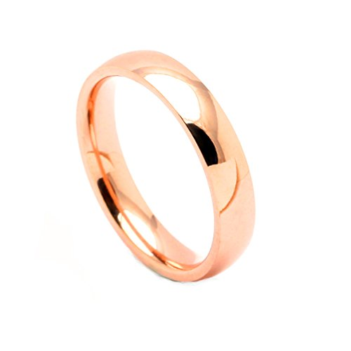 Over Stainless Steel Diamond Ring - 4mm Rose Gold over Stainless Steel Comfort Fit Wedding Band Ring - Ginger Lyne Collection