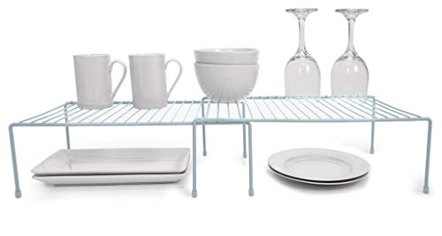 Smart Design Kitchen Storage Expandable Shelf Rack w/Plastic Feet - Steel Metal - Rust Resistant Finish - Cups, Dishes, Cabinet & Pantry Organization - Kitchen (10 x 32 Inch) [Light Blue]