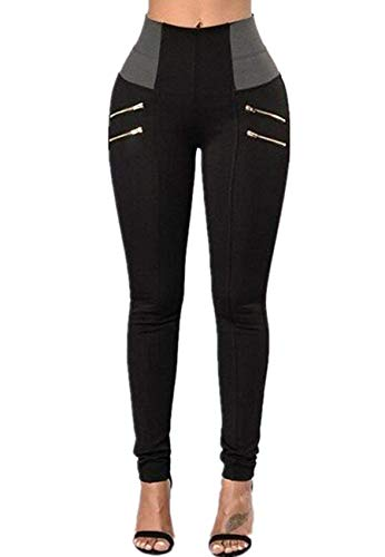 Pxmoda Womens High Waist Patchwork Zip Pencil Jeans Stretch Skinny Pants (2XL, Blackk)