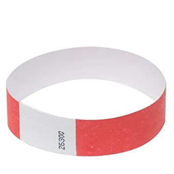 Amazon 1000 Bright Red Tyvek Wristbands Identification Office Products