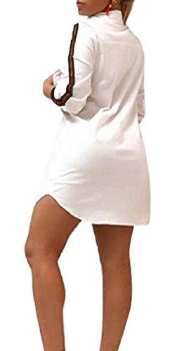 Front Button Tunic Sleevel 4 3 Jaycargogo Shirt Womens Casual White Dress qxnwYn471X