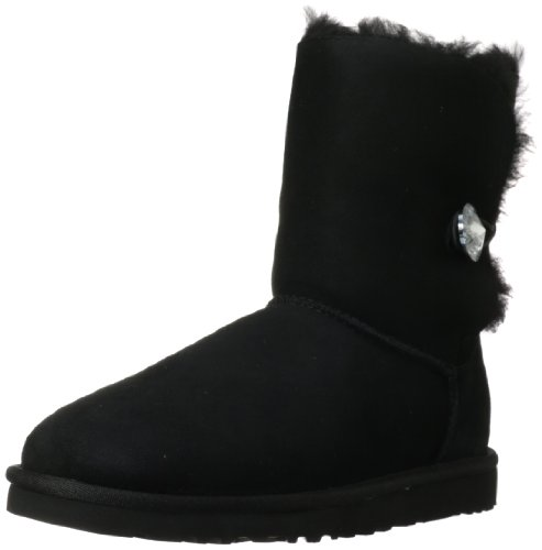 UGG Australia Womens Bailey Button Bling Boot Black Size 7 - Ugg Boots Wedges Women