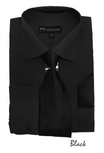 Milano Moda Solid Dress Shirt with Tie, Hankie & French Cuffs SG27-Black-20-20 1/2 -36-37 ()