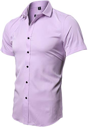FLY HAWK Button Up Fitted Collared Formal Short Sleeved Shirts for Mens, Pink, US XL