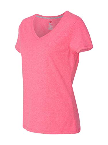 Used, Hanes Women's X-Temp V-Neck Tee, Neon Pink Heather, for sale  Delivered anywhere in USA