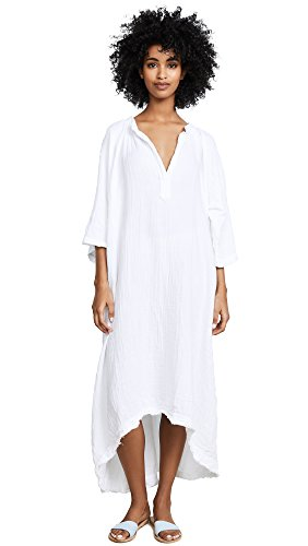 9seed Women's Tangier Caftan, White, One Size