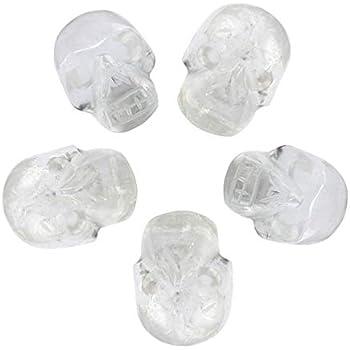 mookaitedecor 1 Inch Rock Quartz Crystal Skull Sculpture Set of 5, Hand Carved Gemstone Statue Figurine Collectible Healing Reiki