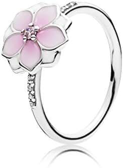 PANDORA Magnolia Bloom Ring, Pale Cerise Enamel & Pink CZ 191026PCZ