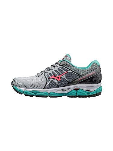 Mizuno Women's Wave Horizon Running Shoe, Silver/Pink, 10.5 B US