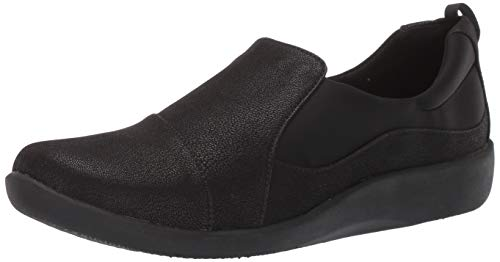 CLARKS Women's Sillian Paz Loafer, Black Synthetic Nubuck, 12 W US (Womens Size 12 Clarks Shoes)
