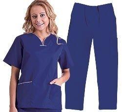 Natural Uniforms Contrast Trim Scrub Top & Pant Set (X-Large, Dark Royal/White) ()