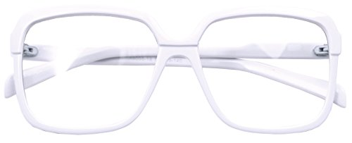 Retro Nerd Geek Oversized Framed Clear Lens Eye Glasses Spring Temple Spectacles (White - Framed White Eyeglasses