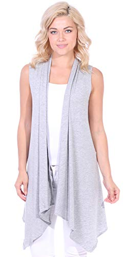 Popana Women's Casual Sleeveless Long Duster Cardigan Vest Plus Size Made in USA 2X Hgray (Plus Size Sweater Vests)