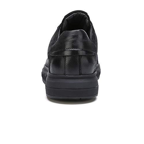 FHCGMX Zapatos de Hombre Otoño Cuero Genuino Moda Mocasines Casual con Cordones Hombre Negro Calzado Mocasines Moda Zapatos Masculinos a223d4