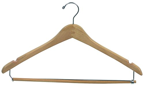 Econoco Commercial Wishbone Wooden Hanger with Chrome Hook and Wooden Lock Bar on Spring, 17'', Natural (Pack of 100) by Econoco