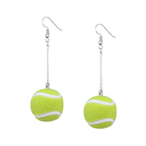 MUZHE Women's Sports Ball Earrings - Tennis Football Soccer Badminton Dangle Earrings for Girls Sport Jewelry ()