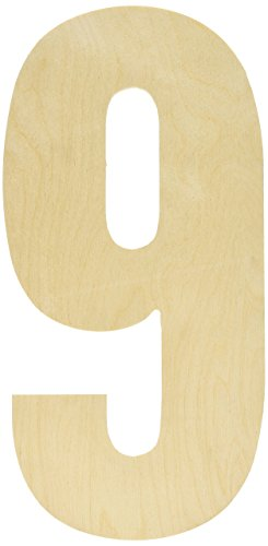 MPI Baltic Birch Collegiate Font Letters and Numbers, 13.5-Inch, Number-9