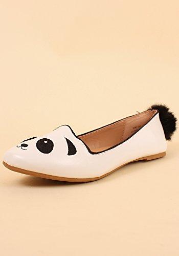Bambù Femminile Kiwi-74s Animale Punta Rotonda Slip On Ballet Flats (multiple Animals) Panda (bianco / Nero)
