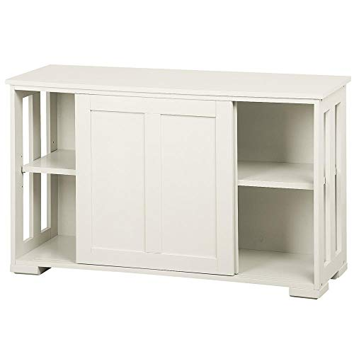 Yaheetech Antique White Sliding Door Buffet Sideboard Stackable Cabinets Kitchen Dining Room Storage Cupboard (Buffet Glass Top Table)