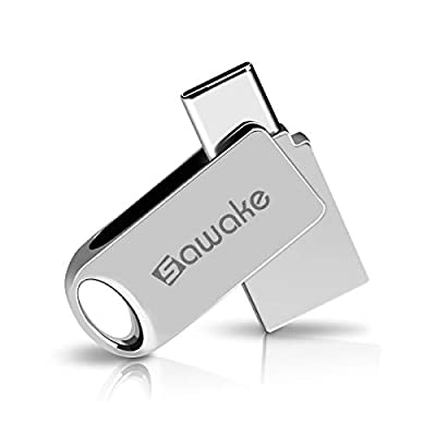 SAWAKE USB C Flash Drive, USB 3.0 Type C Thumb Drive, Waterproof Dual Drive Memory Stick with Keychain for Android Smartphone New MacBook from SAWAKE