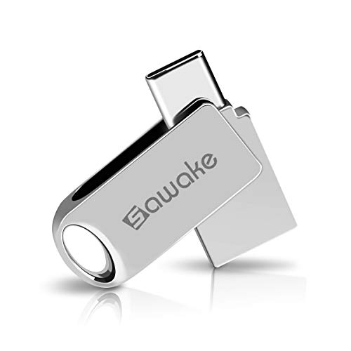 SAWAKE USB C Flash Drive, 128GB USB 3.0 Type C Thumb Drive, Waterproof Dual Drive Memory Stick with Keychain for Android Smartphone New MacBook