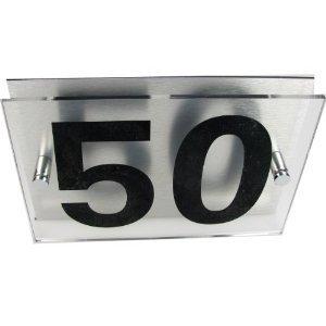 House Number Sign/Plaque Brushed Aluminium & Acrylic