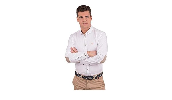 Camisa de Vestir Blanca con Coderas: Amazon.es: Ropa