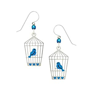 Artisan Sienna Sky Bluebird - Pendientes de jaula abierta con caja ...