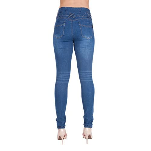 CoverGirl Womens High Waisted Cute Ripped Patched Repair Blue Skinny Juniors Jeans