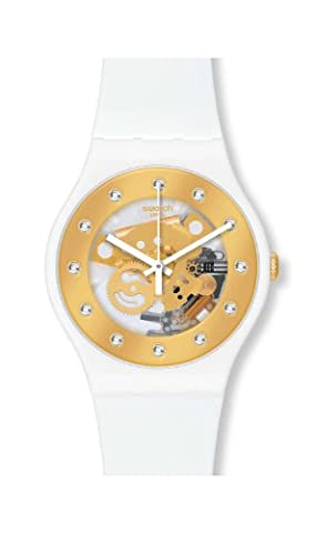 Swatch SUOZ148 sunray glam white rubber strap unisex watch NEW (Sport Swatch Men)