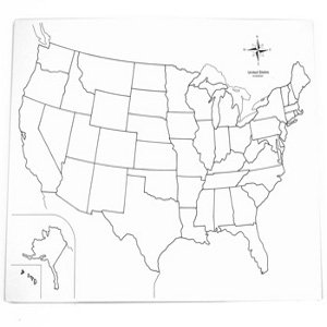 Montessori Usa Control Map A Unlabeled Geography Amazon Co Uk