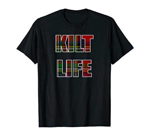 Mens Kilt Life T Shirt Red Green Plaid Shirt Stewart Tartan