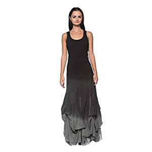 Rogue Finery Women's Plus Black Gray Ombre Steampunk Victorian Goth Wiccan Bubble Long Dress