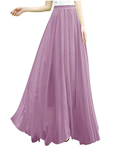 v28 Women Full/Ankle Length Elastic Retro Maxi Chiffon Long Skirt (L,Orchid) (Long Sheer Maxi Dress)