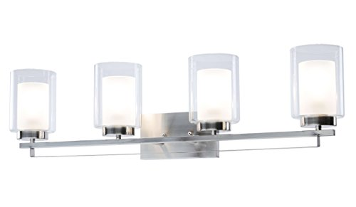 (Wall Light 4 Light Bathroom Vanity Lighting with Dual Glass Shade in Brushed Nickel Indoor Modern Wall Mount Light for Bathroom & Kitchen XiNBEi-Lighting XB-W1195-4-BN)