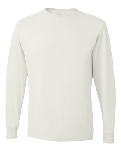 Jerzees Men's Heavyweight Blend 50/50 Long Sleeve T-Shirt (White, Medium)