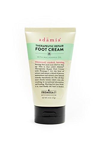 (Adamia Therapeutic Repair Foot Cream with Macadamia Nut Oil and Promega-7, 4 Ounces Tube - Fragrance Free, Paraben Free, Non GMO)