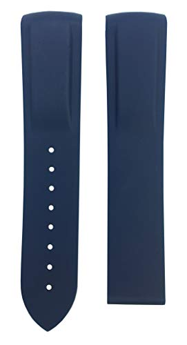 20mm 22mm Rubber Watch Band Strap for Seamaster Planet Ocean | Free Spring Bar Tool (20mm, Dark Blue)