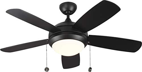 Monte Carlo 5DIC52WHD-V1 Discus Classic 52 Ceiling Fan with Advanced LED Light and Pull Chain, 5 Blades, Matte White