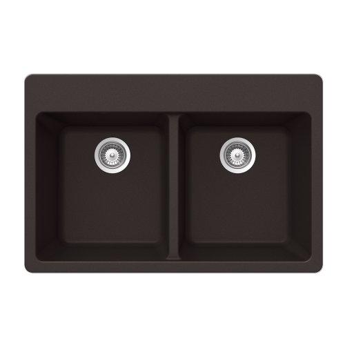 Houzer ALIVE N-200 CHOCOLATE Schock-Houzer Alive Series N-200 Topmount 50/50 Double Bowl Kitchen Sink, Chocolate