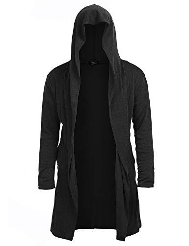 Sleeve Sweater Draped Lightweight Longline Hooded Cardigan with Pockets ()